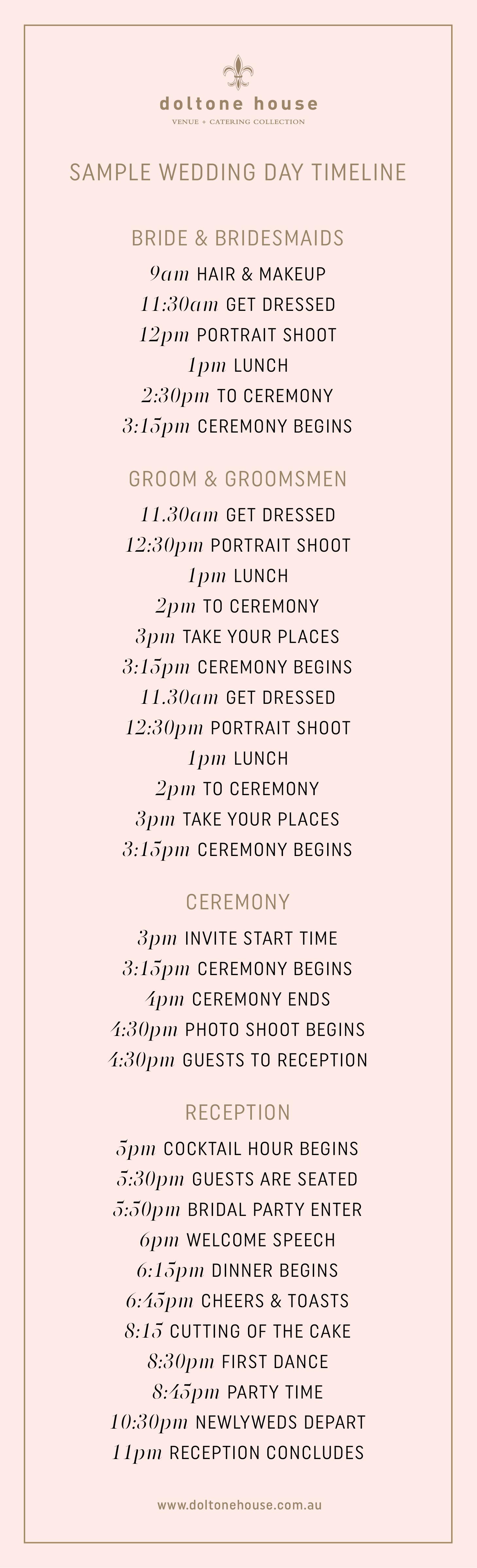 Wedding Ceremony Timeline.A Sample Wedding Day Timeline Doltone House Venue Catering