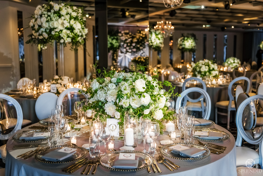 White romantic wedding centrepiece